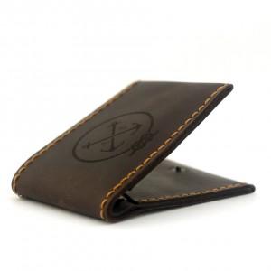 Мужской кошелёк кожаный на кнопке Wallet Slim (as120202) Коричневый