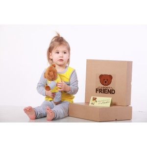 Комплект пижамка и мишка Lucky Friend 98 см Серо-желтый (LF010)
