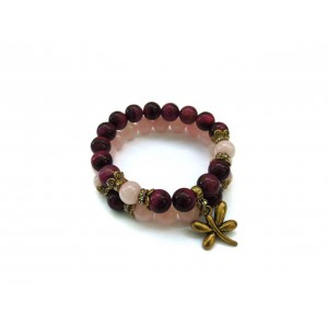 Женский браслет набор N3 Бычий Глаз Розовый Агат (955003)