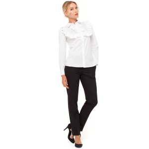 Блуза VILONNA 02 с рюшем 34 Белый (F71021-34)