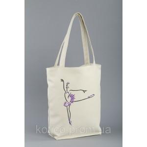 Сумка-шоппер с вышивкой Балерина Белый (SB_381_fly_h)