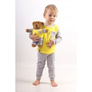 Комплект пижамка и мишка Lucky Friend 80 см Желто-серый (LF001)
