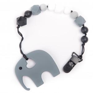 Силиконовый прорезыватель BabyMio Слон Серый (PROGS1)