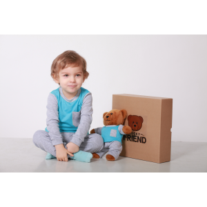 Комплект пижамка и мишка Lucky Friend 92 см Серо-голубой (LF009)