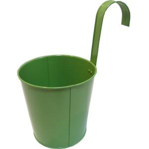 Вазон металлический декоративный с крючком Зелёный