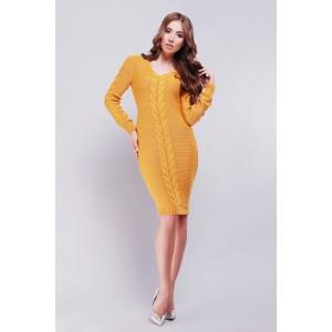 Платье Jill 26539-21 вязаное 42-46 Горчичный