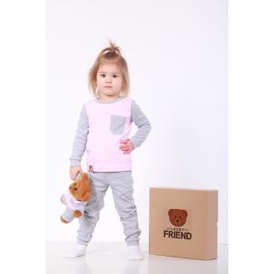 Комплект пижамка и мишка Lucky Friend 92 см Серо-розовый (LF006)