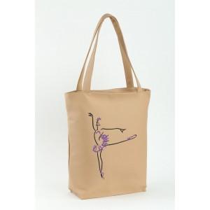 Сумка-шоппер с вышивкой Балерина Персиковый (SB_381_fly_f)