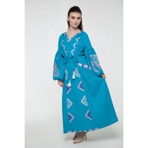 """Платье-вышиванка 2KOLYORY """"Вирій"""" M-L Бирюзовый (3066-M/L)"""
