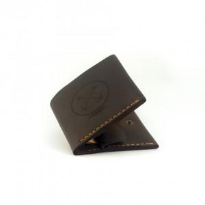 Мужской кошелёк кожаный на кнопке Wallet Square(as120102) Коричневый