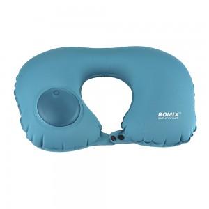 Надувная подушка ROMIX со встроенной помпой Голубая (RH34WBL)
