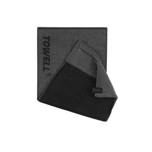 Многофункциональное спортивное полотенце TOWELL+ Серое-черное