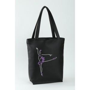 Сумка-шоппер с вышивкой Балерина Черный (SB_381_fly_g)