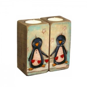Подсвечник деревянный Пингвины (118-10813069)