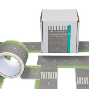 Бумажная игровая лента Автодорога с велодорожкой Версия Эко