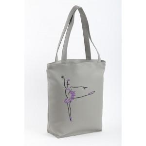 Сумка-шоппер с вышивкой Серый (SB_381_fly_b)