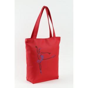 Сумка-шоппер с вышивкой Балерина Красный (SB_381_fly_d)