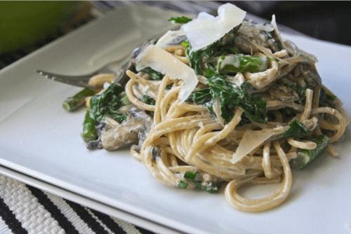 Паста (спагеті) з грибами в ніжному вершковому соусі