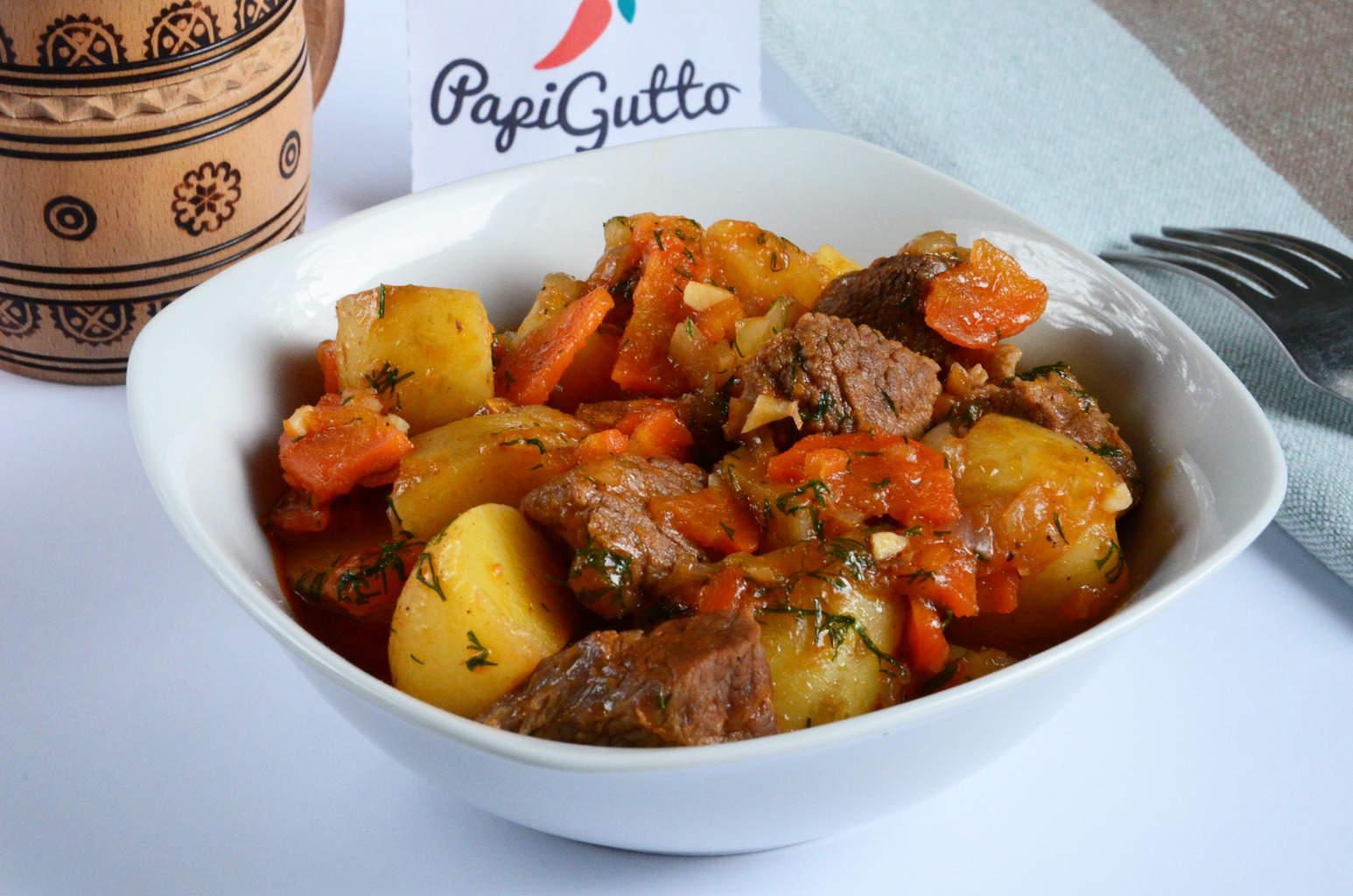 Тушеная картошка с мясом пошаговое фото