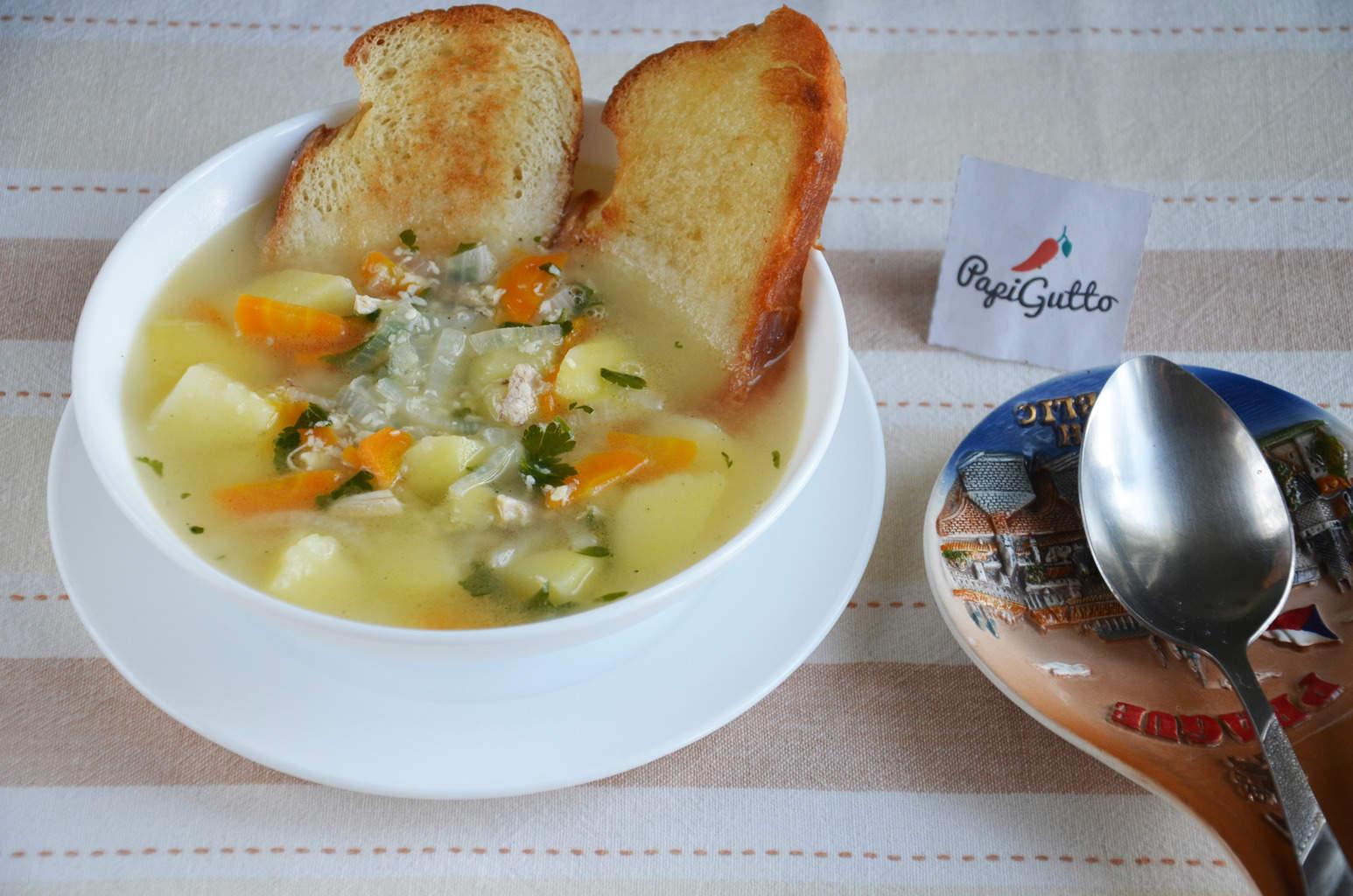 Крем суп с курицей и сыром рецепт пошагово в