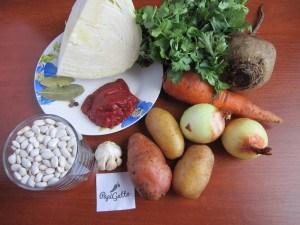 Постный борщ с фасолью 1